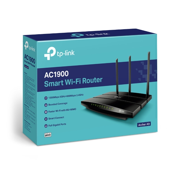TP-Link Archer A9 AC1900 Wireless MU-MIMO Dual Band 1300Mbps Gigabit Router